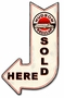 Hudson Sold Here Arrow Metal Sign