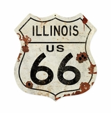 Illinois US 66 Shield Vintage Plasma Metal Sign