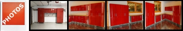 Customer photos of ruby red metallic mdf cabinets