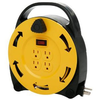 Incandescent Work Light Reel, with Metal Housing, 14/3 25' Cord, Outlet in Handle, Metal Cage