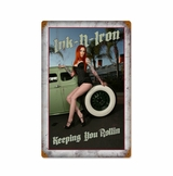 Ink And Iron Keeping Rolling Metal Sign