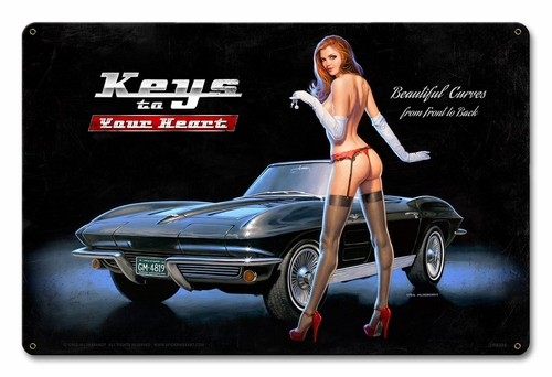 Keys To Your Heart Metal Sign