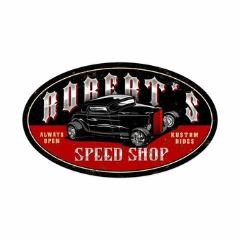 Late Night Speed Shop Personalized Metal Sign