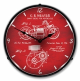 LED Lighted 1941 Indian Motorcycle Patent Clock