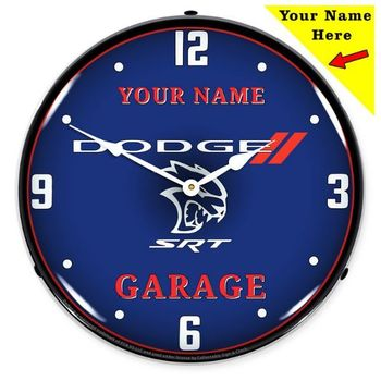 LED Lighted Add Your Name Dodge SRT Hellcat Garage 2 to 4 Weeks for Delivery Clock