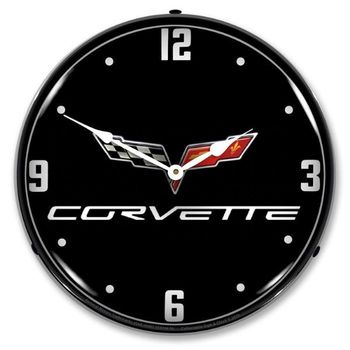 LED Lighted C6 Corvette Black Tie Clock