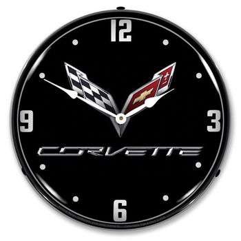LED Lighted C7 Corvette Black Tie Clock