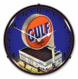LED Lighted Gulf Station 1960 Clock