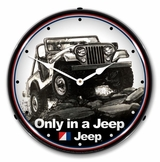 LED Lighted Jeep on a Rock Clock