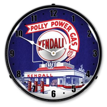 LED Lighted Kendall Gas Station Clock