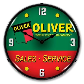 LED Lighted Oliver Tractor Sales & Service Clock