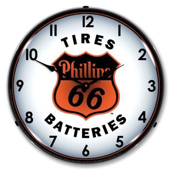 LED Lighted Phillips 66 Tires and Batteries Clock