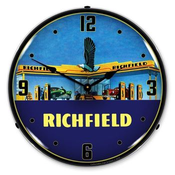 LED Lighted Richfield Station 1940s Clock