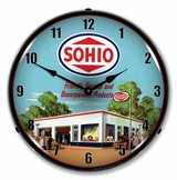 LED Lighted Sohio Gas Station Clock