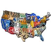 License Plate Usa Map Cut Out Metal Sign