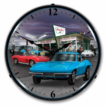 LED Lighted 1966 Sinclair Vette Clock
