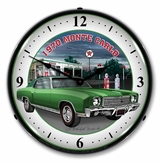 LED Lighted 1970 Monte Carlo Green Clock