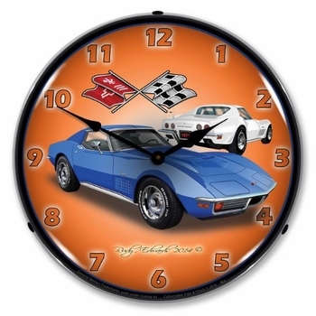 LED Lighted 1971 Corvette Stingray  Blue Clock