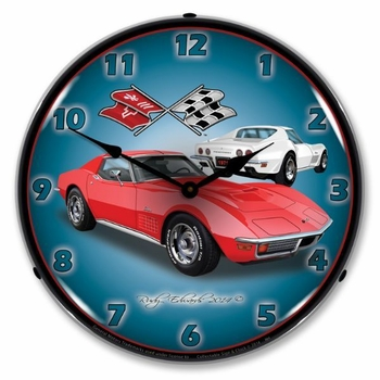 LED Lighted 1971 Corvette Stingray  Red Clock