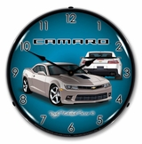 LED Lighted 2014 SS Camaro Silver Ice Clock