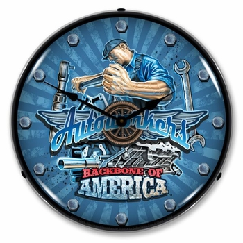 Lighted Autoworkers USA Clock