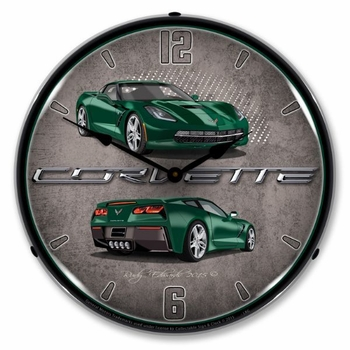 LED Lighted C7 Corvette Lime Rock Green Clock