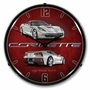 LED Lighted C7 Corvette Blade Silver Clock