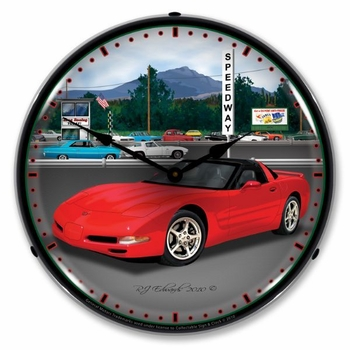 LED Lighted C5 Raceway Clock
