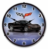 LED Lighted C6 Corvette Black Clock