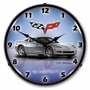 LED Lighted C6 Corvette Blade Silver Clock