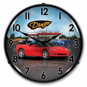 LED Lighted C6 Corvette Convertible Diner Clock