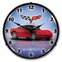 LED Lighted C6 Corvette Crystal Red Clock