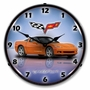 LED Lighted C6 Corvette Inferno Orange Clock