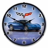LED Lighted C6 Corvette Jetstream Blue Clock