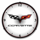 LED Lighted C6 Corvette Logo Clock