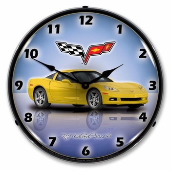 LED Lighted C6 Corvette Velocity Yellow Clock