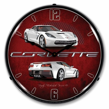 LED Lighted C7 Corvette Artic White Clock