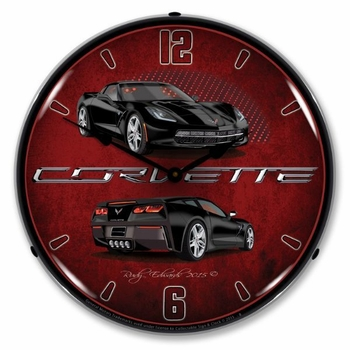 LED Lighted C7 Corvette Black Clock