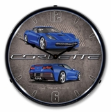LED Lighted C7 Corvette Laguna Blue Clock
