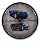 LED Lighted C7 Corvette Night Race Blue Clock
