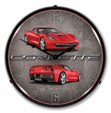 LED Lighted C7 Corvette Torch Red Clock
