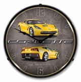 LED Lighted C7 Corvette Velocity Yellow Clock