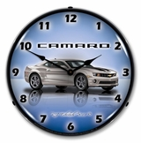 LED Lighted Camaro G5 Silver Ice Clock