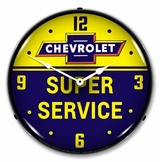 LED Lighted Chevrolet Bowtie Super Service Clock