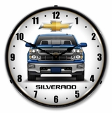 LED Lighted Chevrolet Silverado Blue Clock