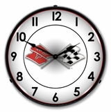 LED Lighted Corvette Flags Clock