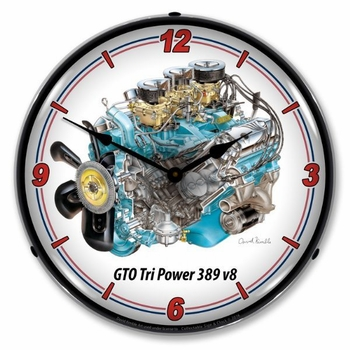 LED Lighted GTO Tri Power V8 Clock
