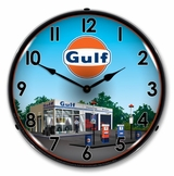 LED Lighted Gulf Station Clock