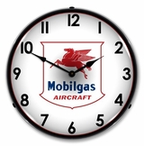 LED Lighted Mobilgas Avaition Clock