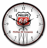 LED Lighted Phillips 66 Red Clock